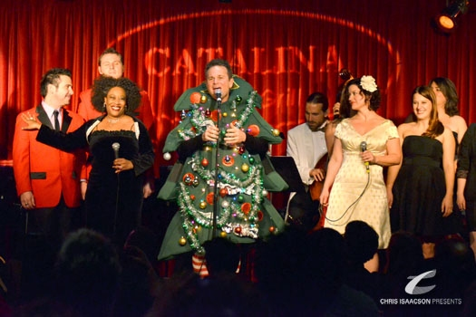 Brandon Alameda, William Martinez, Carla Renata, Sam Harris, Carter Wallace, Karissa Noel, Caitlin O'Brient and Danielle Sadd at Upright Cabaret's A Broadway Christmas