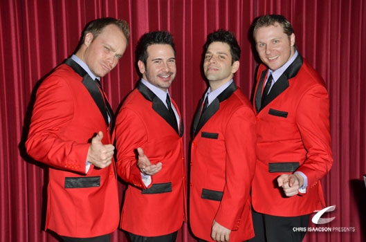 Brandon Alameda, Jim Holdridge, William Martinez and Kevin Wood at Upright Cabaret's A Broadway Christmas