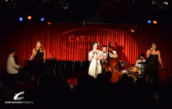 Brent Crayon, Caitlin O'Brient, Karissa Noel, Danielle Sadd at Upright Cabaret's A Broadway Christmas