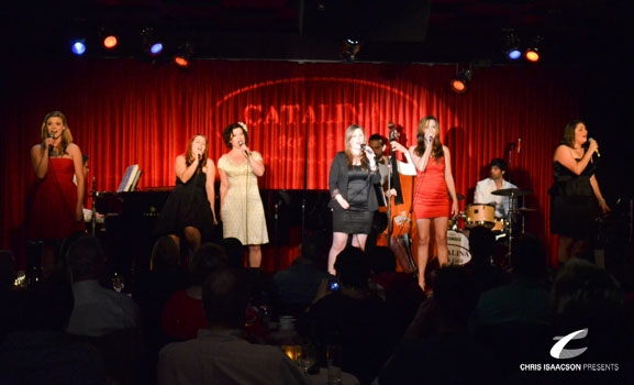 Erin Dowling, Caitlin O'Brient, Karissa Noel, Sheila Karls, Cristina Ballestero and Danielle Sadd at Upright Cabaret's A Broadway Christmas