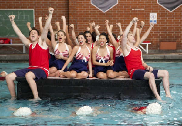Cory Monteith, Dianna Agron, Lea Michele, Naya Rivera and Chord Overstreet at GLEE Gets Synchronized in Winter Premiere
