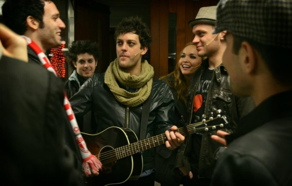 Jake Epstein, Larkin Bogan, Van Hughes, Nicci Claspell and Matt Deangelis at AMERICAN IDIOT Tour Rocks Nathan Phillips Square