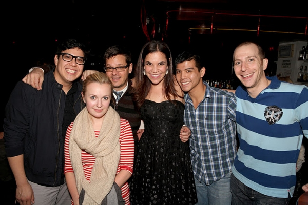 GODSPELL company members George Salazar, Julia Mattison, Michael Holland (orchestrator), Lindsay Mendez, Telly Leung, Charlie Alterman (musical director)