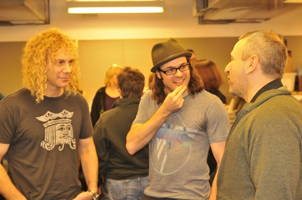 David Bryan, Mitchell Jarvis and Joe DiPietro at First Look at Constantine Maroulis, Nancy Opel & More in Rehearsal for Alley Theater's THE TOXIC AVENGER!