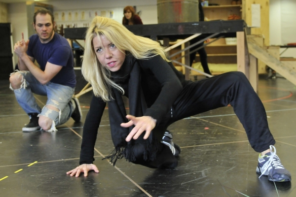 Mitchell Jarvis and Choreographer Kelly Devine  at First Look at Constantine Maroulis, Nancy Opel & More in Rehearsal for Alley Theater's THE TOXIC AVENGER!