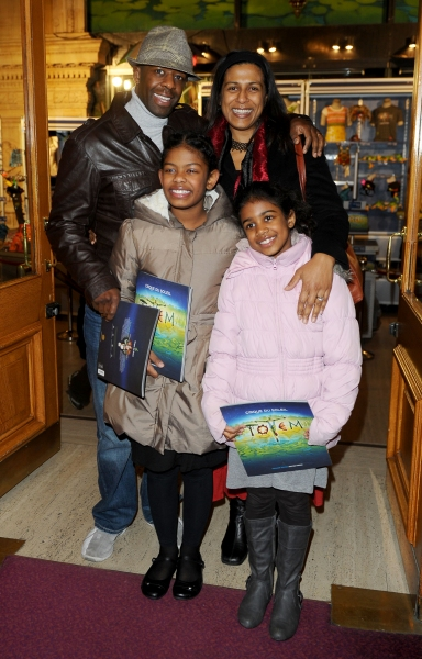 Adrian Lester and Lolita Chakrabarti with daughters Lila and Jasmine at Cirque du Soleil's TOTEM Premieres in London