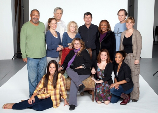 The cast of Horton Foote's Dividing the Estate: (back row, from left) Roger Robinson, Hallie Foote, James DeMarse, Penny Fuller, Horton Foote Jr., Pat Bowie, Devon Abner and Kelly McAndrew; (front row) Jenny Dare Paulin, Elizabeth Ashley, Nicole Lowrance