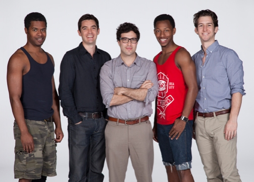 Jimonn Cole, director Jonathan Munby, playwright Jonathan Caren and Brandon Gill and Evan Todd