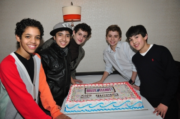 Liam Redhead, Dayton Tavares, Trent Kowalik, Michael Dameski and Alex Ko celebrate 500 performances on Broadway.