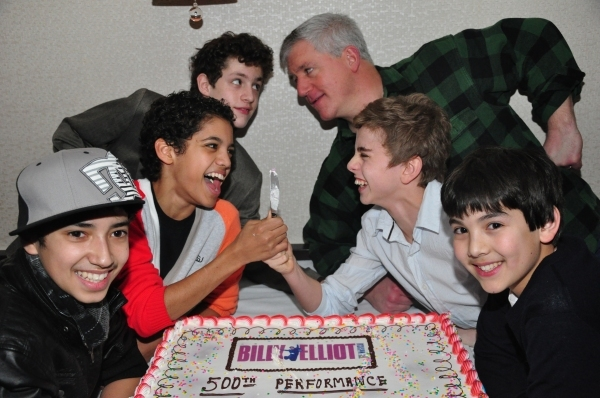 Dayton Tavares, Liam Redhead, Trent Kowalik, Gregory Jbara, Michael Dameski and Alex Ko celebrate 500 Broadway performances.