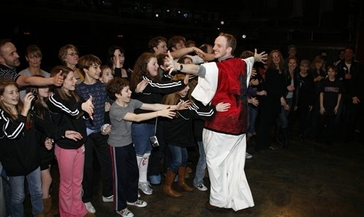 Greg Graham presented with Billy Elliot's Gypsy Robe in 2008. Photo