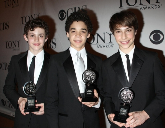 Trent Kowalik, David Alvarez and Kiril Kulish with their 2009 Tony Awards for Best Leading in a Musical.