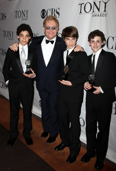 David Alvarez, Sir Elton John, Kiril Kulish and Trent Kowalik at the 2009 Tony Awards.