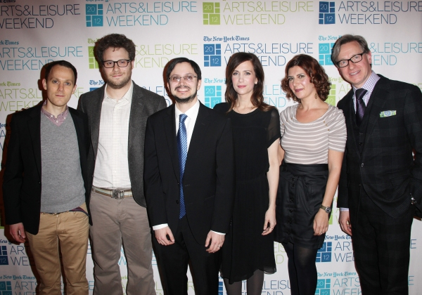 Backstage (L-R) Will Reiser, Seth Rogen, Dave Itzkoff, Kristen Wiig, Melena Ryzik and Paul Feig