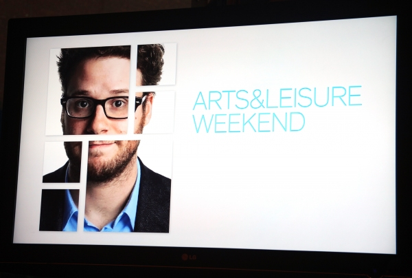 Seth Rogan at Kristen Wiig & Seth Rogen Visit New York Times Arts & Leisure Weekend