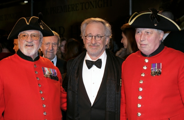 Mandatory Credit: Photo by Rex USA (893716e)Steven Spielberg with Chelsea Pensioners'War Horse' film premiere, London, Britain - 08 Jan 2012