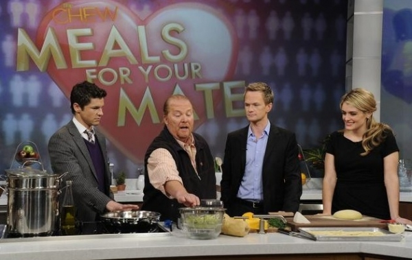 David Burtka, Mario Batali, Neil Patrick Harris & Daphne Oz at Sneak Peek - Neil Patrick Harris Featured on ABC's THE CHEW, 1/16