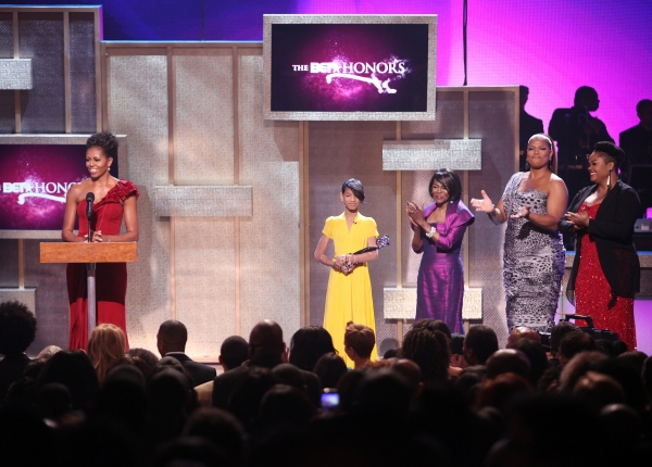 Michelle Obama with Queen Latifah, Willow Smith, Cicely Tyson and Jill Scott
