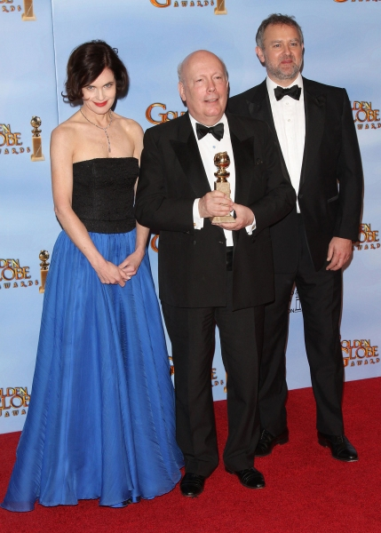 Writer Julian Fellowes, actors Elizabeth McGovern and Hugh Bonneville pictured at the 69th Annual Golden Globe Awards held at the Beverly Hilton Hotel in Beverly Hills, California on January 15, 2012. © RD / Orchon / Retna Digital.