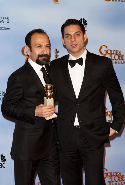Asghar Farhadi and Peyman Moadi pictured at the 69th Annual Golden Globe Awards - Press Room held at the Beverly Hilton Hotel in Beverly Hills, California on January 15, 2012. © RD / Orchon / Retna Digital.