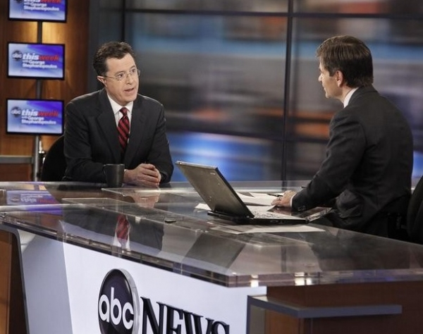 Stephen Colbert & George Stephanopoulos at Stephen Colbert Appears on ABC's THIS WEEK