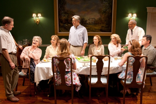 (from left) Devon Abner, Elizabeth Ashley, Penny Fuller, Kelly McAndrew, James DeMarse, Hallie Foote, Jenny Dare Paulin, Roger Robinson, Nicole Lowrance and Horton Foote Jr. in the West Coast premiere of Horton Foote's Dividing the Estate, directed by Mic at Old Globe's DIVIDING THE ESTATE