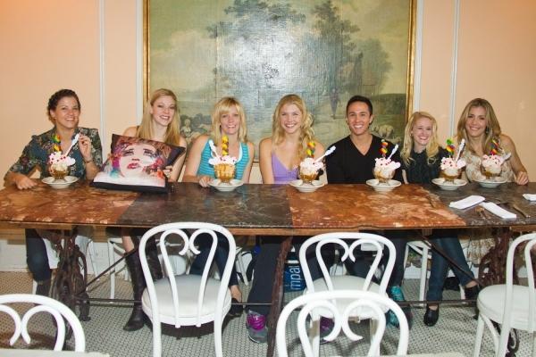 Sara Edwards, Kirsten Scott, Jenifer Foote, Amanda Kloots-Larsen, Mathew deGuzman, Pamela Otterson and Brittany Marcin unveil Serendipity's FOLLIES sundae.