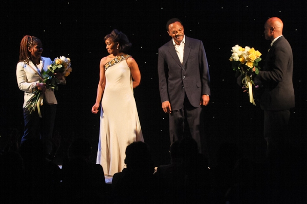 Katori Hall, Angela Bassett, Samuel L. Jackson, and Kenny Leon at THE MOUNTAINTOP Takes Final Broadway Bow