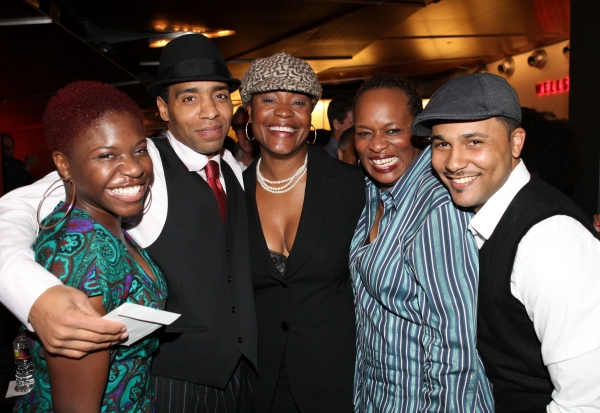 "CULVER CITY, CA - JANUARY 22: (L-R) Cast members Kenya Alexander, Kevin T. Carroll, Deidrie Henry, Kim Staunton and Jason Dirden pose during the party for the opening night performance of Ebony Repertory Theatre's production of ""A Raisin in the Sun"" at Ce"