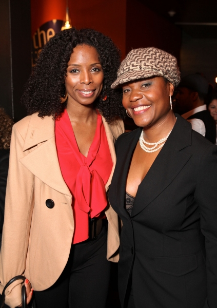 """CULVER CITY, CA - JANUARY 22: Tasha Smith (L) and cast member Deidrie Henry (R) pose during the party for the opening night performance of Ebony Repertory Theatre's production of """"A Raisin in the Sun"""" at Center Theatre Group / Kirk Douglas Theatre"""