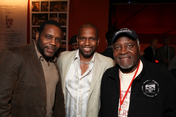 "CULVER CITY, CA - JANUARY 22: (L-R) Chad L. Coleman poses with cast members Keith Arthur Bolden and Ellis E. Williams during the party for the opening night performance of Ebony Repertory Theatre's production of ""A Raisin in the Sun"" at Center Theat"