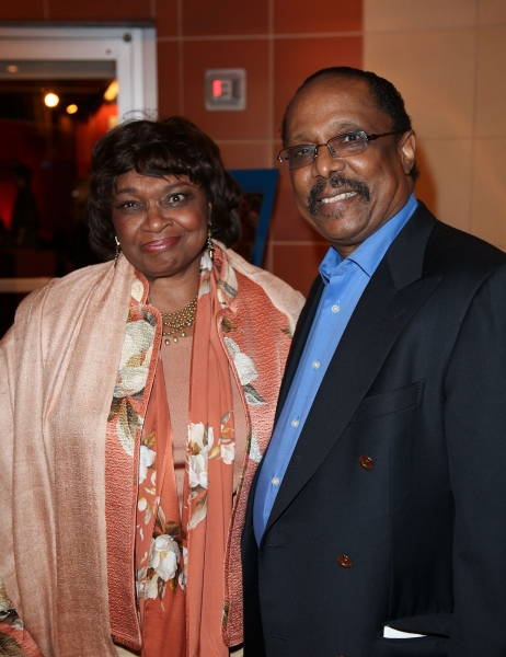 "CULVER CITY, CA - JANUARY 22: Hattie Winston (L) and musician Harold Wheeler (R) pose during the arrivals for the opening night performance of Ebony Repertory Theatre's production of ""A Raisin in the Sun"" at Center Theatre Group / Kirk Douglas The"