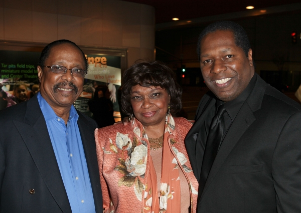 "CULVER CITY, CA - JANUARY 22: (L-R) Musician Harold Wheeler, actress Hattie Winston and Wren T. Brown, Founder Ebony Repertory Theatre pose during the arrivals for the opening night performance of Ebony Repertory Theatre's production of ""A Raisin in the S"