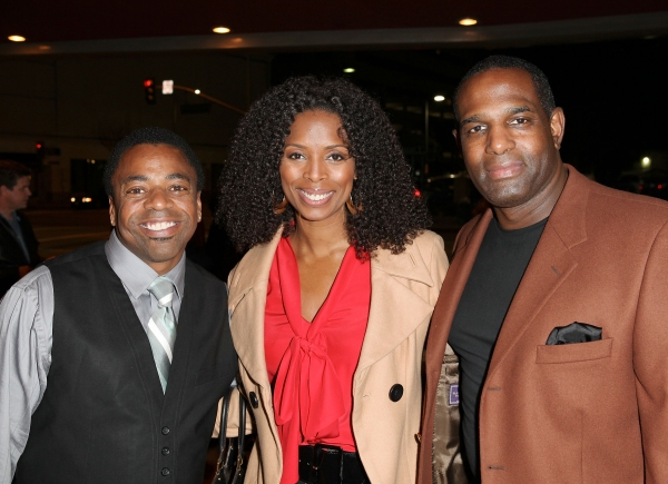 "CULVER CITY, CA - JANUARY 22: (L-R) Sage Gallon, actress Tasha Smith and Keith Douglas pose during the arrivals for the opening night performance of Ebony Repertory Theatre's production of ""A Raisin in the Sun"" at Center Theatre Group / Kirk Douglas"