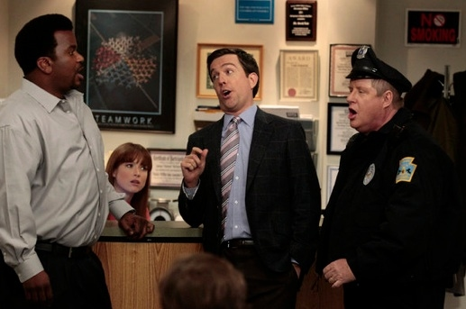 Craig Robinson, Ellie Kemper, Ed Helms & Michael Henderson at Sneak Peek - Angela Welcomes Her Baby on NBC's THE OFFICE, 2/2