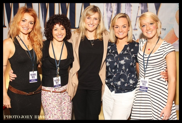 The international touring cast of Mamma Mia! recently met with the local press:  (L-R): Tasha Taylor Johnson (Lisa), Kelly Edwards (dance captain), Sara Poyzer (Donna Sheridan), Charlotte Wakefield (Sophie Sheridan), and Rosie Heath (Ali);