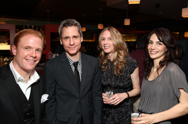 Cast member Brendan Griffin, Playwright Bruce Norris and cast members Christina Kirk and Annie Parisse