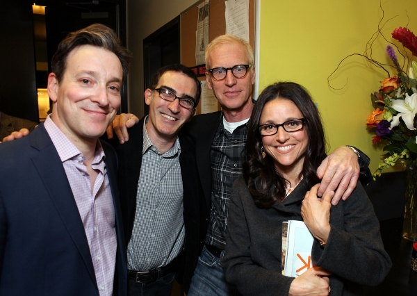 "LOS ANGELES, CA - JANUARY 25: (L-R) Cast member Jeremy Shamos, actor Patrick Fischler, Brad Hall and actress Julia Louis-Dreyfus pose backstage after the opening night performance of ""Clybourne Park"" at Center Theatre Group / Mark Taper Forum on January 2"