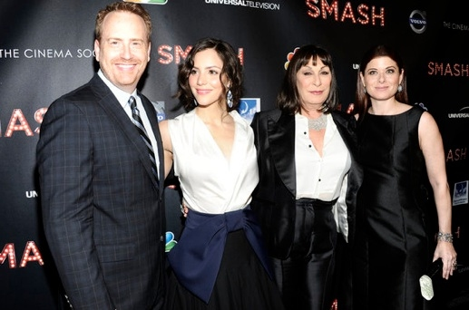 Robert Greenblatt, Katharine McPhee, Anjelica Huston & Debra Messing at Last Night's World Premiere of NBC's SMASH