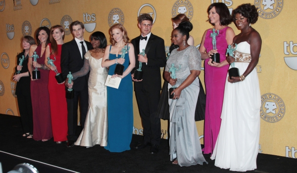 The cast of 'The Help' pose in the press room with their award for Outstanding Performance By A Cast In A Motion Picture for 'The Help' pictured at the 18th Annual Screen Actors Guild Awards - Press Room held at the Shrine Auditorium and Exposition Center at Inside the Winner's Room Backstage at the SAG Awards!