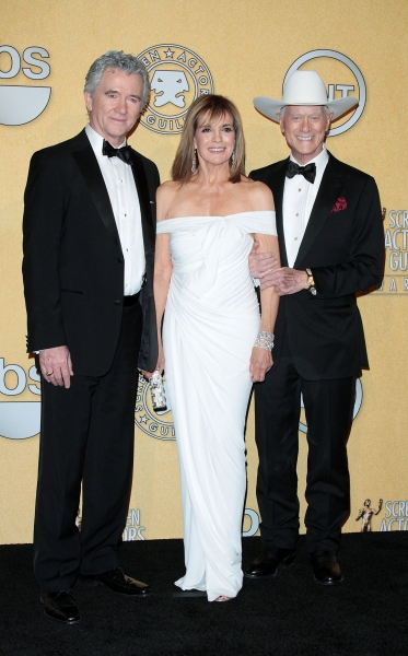 Patrick Duffy, Linda Gray, and Larry Hagman  pictured at the 18th Annual Screen Actors Guild Awards - Press Room held at the Shrine Auditorium and Exposition Center in Los Angeles, CA on January 29, 2012 © RD / Orchon / Retna Digital