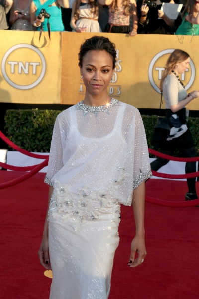 Zoe Saldana pictured at the 18th Annual Screen Actors Guild Awards - arrivals held at the Shrine Auditorium and Exposition Center in Los Angeles, CA on January 29, 2012 © RD / Orchon / Retna Digital at Viola Davis, GLEE & More on the SAG Red Carpet!