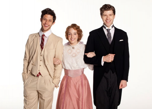 (from left) Kyle Harris stars as George Emerson, Ephie Aardema as Lucy Honeychurch and Will Reynolds as Cecil Vyse in the World Premiere of A Room with a View, a new musical with book and additional lyrics by Marc Acito and music and lyrics by Jeffrey Sto at First Look at Karen Ziemba, Kyle Harris, et al. in Old Globe's A ROOM WITH A VIEW