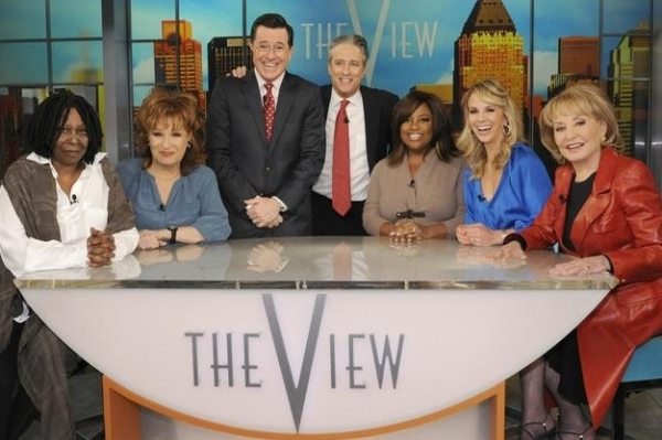 Whoopi Goldberg, Joy Behar, Stephen Colbert, Jon Stewart, Sherri Shepherd, Elisabeth Hasselbeck & Barbara Walters at THE VIEW Hosts Appear in Colbert/Stewart Comedy Sketch
