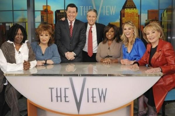 Whoopi Goldberg, Joy Behar, Stephen Colbert, Jon Stewart, Sherri Shepherd, Elisabeth Hasselbeck & Barbara Walters