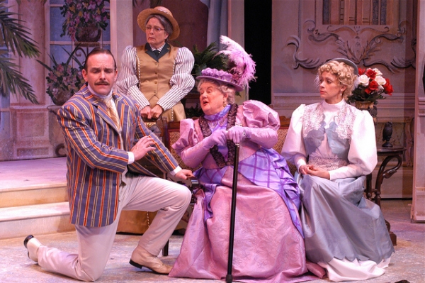 Pictured L-R:  Scott Bellot (Jack Worthing); Billie McBride (Miss Prism); Bev Newcomb (Lady Bracknell and Kate Berry (Gwendolen Fairfax)