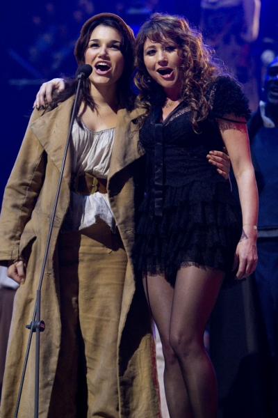 Samantha Barks (Eponine) and Frances Ruffelle (original Eponine) at the LES MISERABLES 25th Anniversary Concert at the O2 Arena in London, photo by Dan Wooller/Rex  at Meet Eponine! Samantha Barks Through the Years...