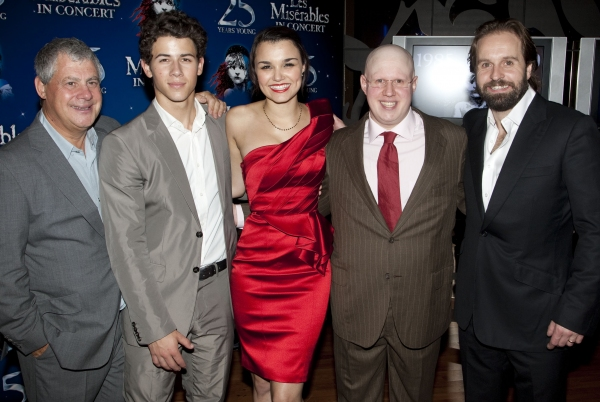 Cameron Mackintosh (Producer), Nick Jonas (Marius), Samantha Barks (Eponine), Matt Lucas (Thenardier) and Alfie Boe (Jean Valjean) at the LES MISERABLES 25th Anniversary Concert After Party. Photo by Dan Wooller/Rex