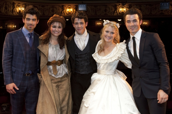 Joe Jonas, Samantha Barks (Eponine), Nick Jonas (Marius), Camilla Kerslake (Cosette) and Kevin Jonas backstage - Photo by Dan Wooller / Rex