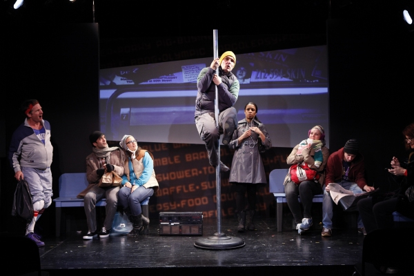 Peter Benson, Nick Choksi, Sas Goldberg, Zach Shaffer (on  pole), Susan Kelechi Watson, Meredith Holzman, Keith Nobbs and Candy Buckley in Subway Gymnastics by Michael Mitnick